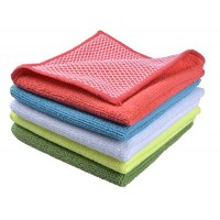 Sinland Microfiber Dish Cloth Best Kitchen Cloths Cleaning Cloths With Poly Scour Side 12Inch x 12Inch 5 Pack