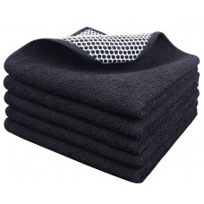 Sinland Microfiber Dish Cloth Best Kitchen Cloths Cleaning Cloths with Poly Scour Side 12Inch x 12Inch 5 Pack Black